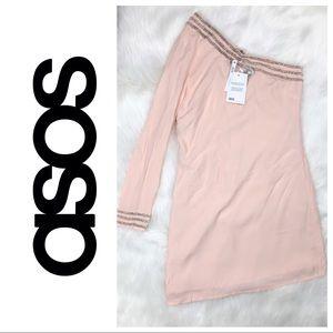 🆕 ASOS One Shoulder Blush Pink Sequin Dress